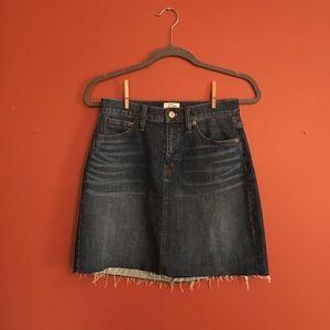 J. Crew mini raw hem denim skirt size 25